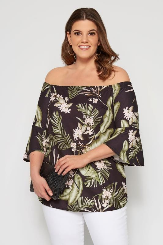 Plus Size Bardot & Cold Shoulder Tops Black Tropical Bardot Top With Flute Sleeves
