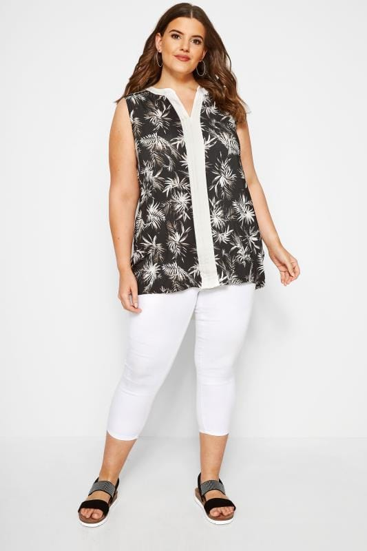 Black Tropical Pintuck Top