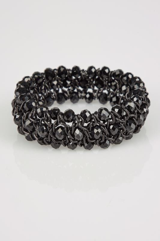 Black Twisted Bead Stretch Bracelet