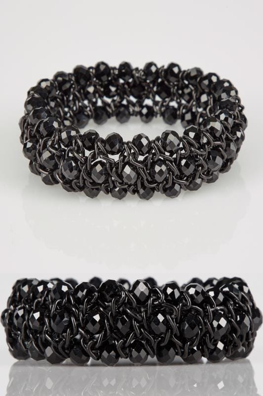 Jewellery Black Twisted Bead Stretch Bracelet 152581
