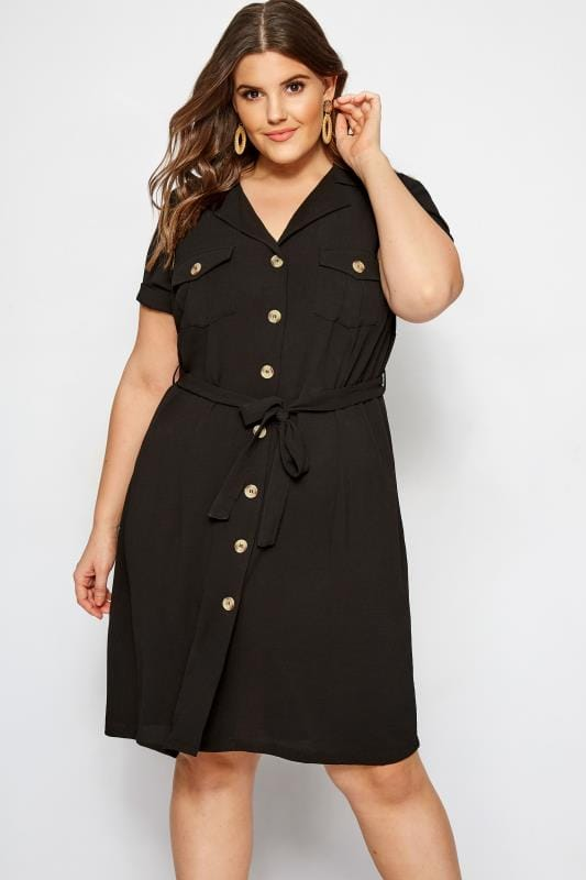 Plus Size Sleeved Dresses Black Utility Shirt Dress