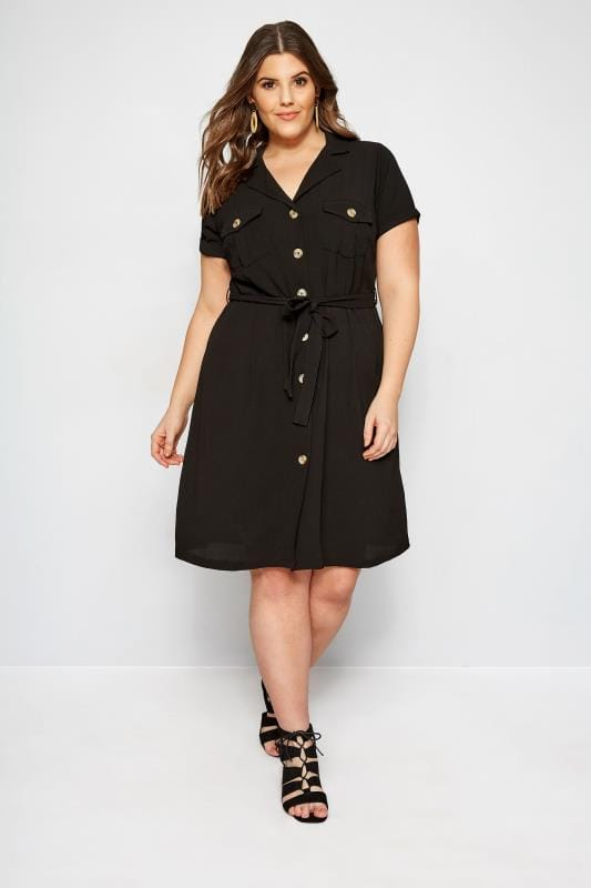 Black Utility Shirt Dress