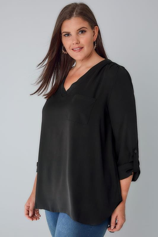 Black V-Neck Blouse With Roll Up Sleeves & Pocket Detail