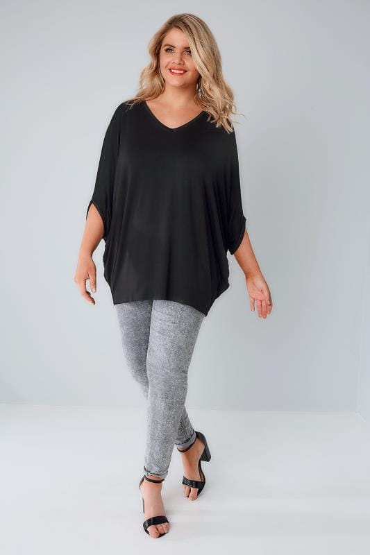 Black V-Neck Oversized Cape Style Jersey Top