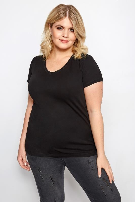 8b5492a1 Plus Size Black V-Neck T-Shirt | Sizes 16 to 36 | Yours Clothing