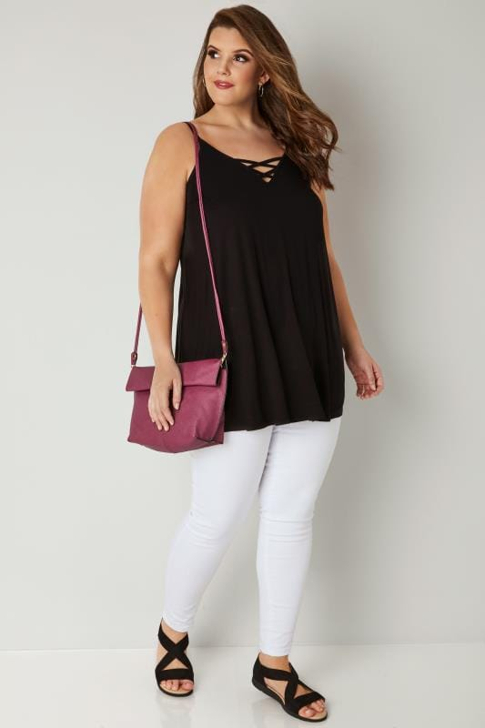 Black V-Neck Vest Top With Cross Front Detail