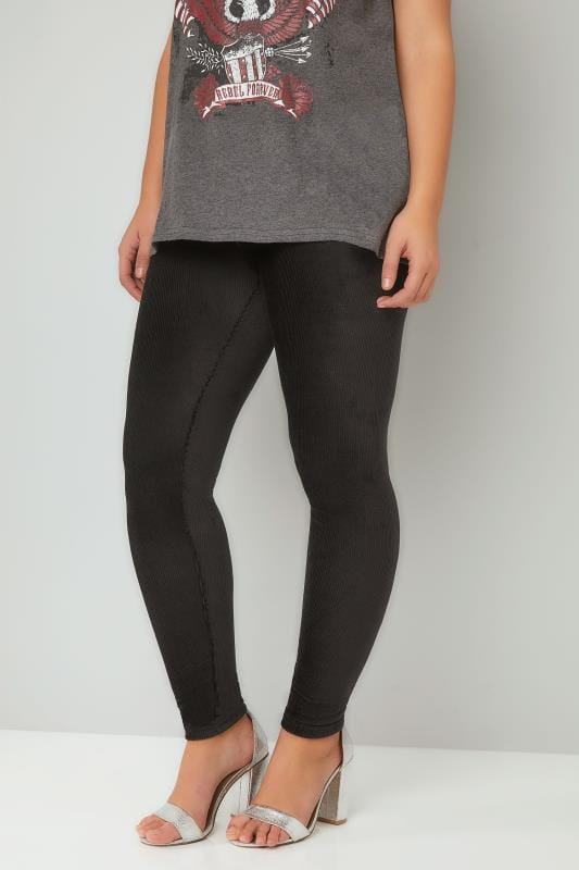 Black Velour Ribbed Leggings