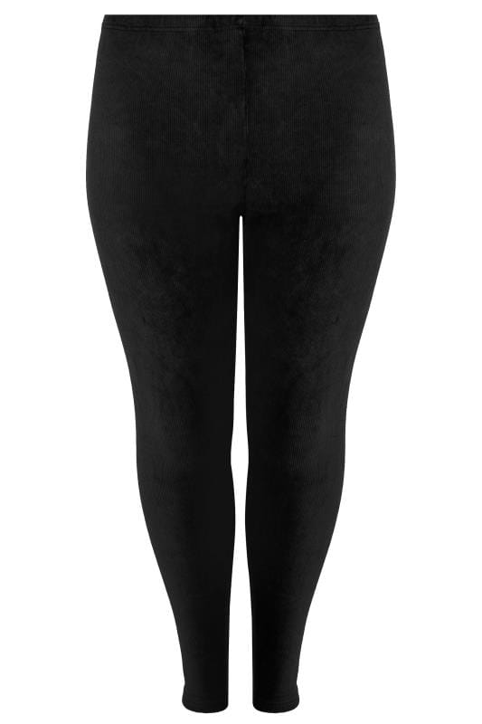 Fashion Leggings Black Velour Ribbed Leggings 142071