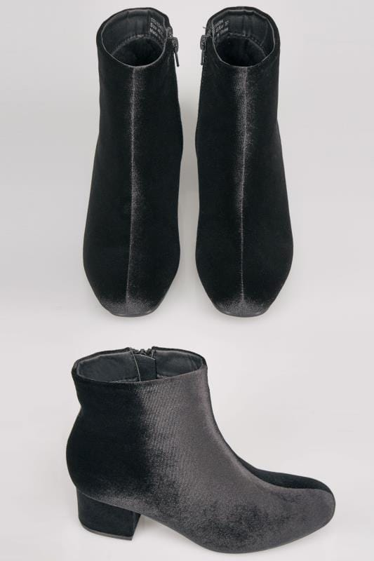 Wide Fit Ankle Boots Black Velvet Boots With Block Heel In E Fit 154094