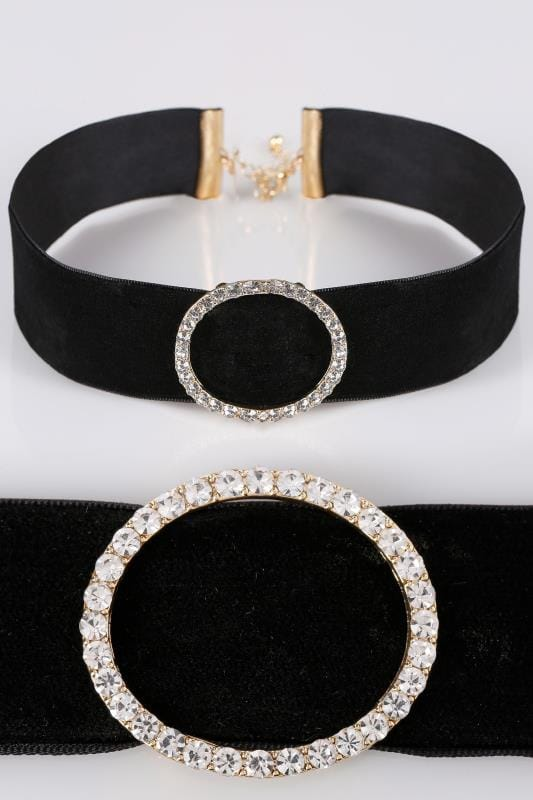 Plus Size Jewellery Black Velvet Choker With Diamante Ring Detail