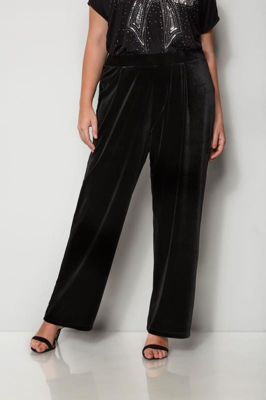 Black Velour Wide Leg Trousers