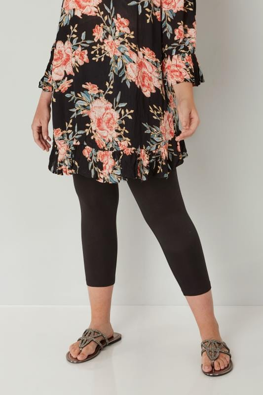 Plus Size Cropped & Short Leggings Black Soft Touch Cropped Leggings