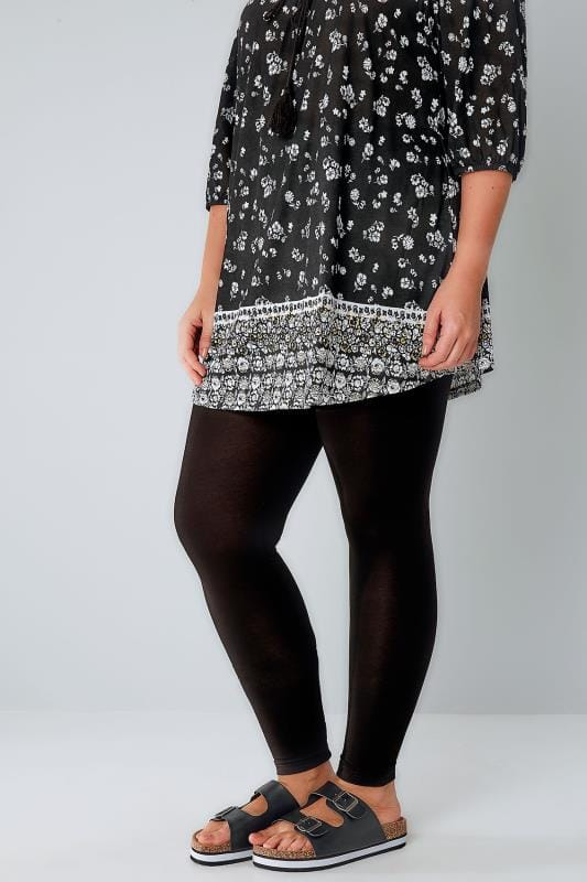 Black Viscose Elastane Leggings