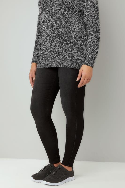 Grote maten Jeggings Black Washed Ultimate Comfort Stretch JENNY Jeggings