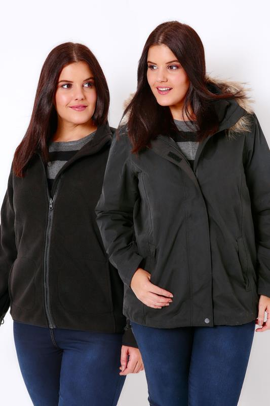 Black Waterproof 3 in 1 Jacket With Faux Fur Tipped Trim Hood