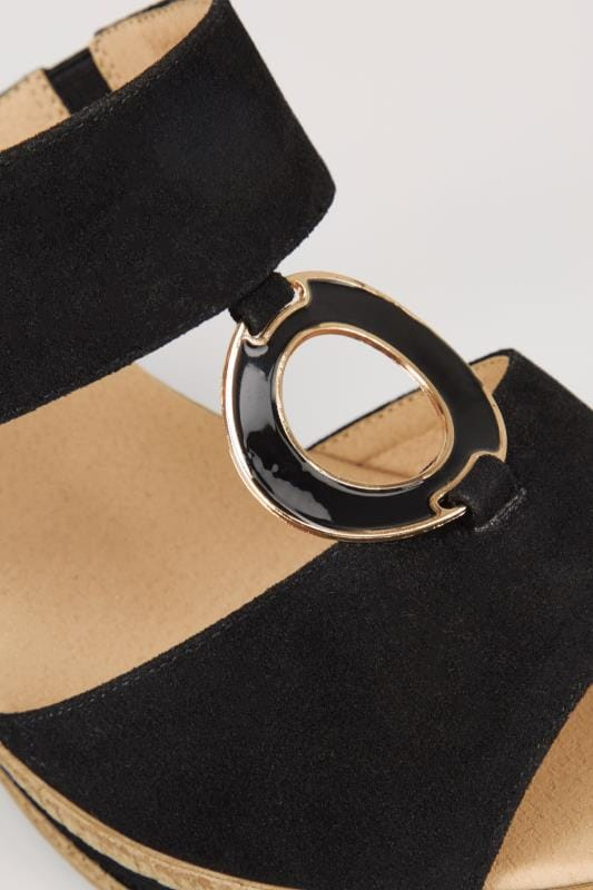 Black Wedge Heel Sandals With Gold Tone Ring In TRUE EEE Fit