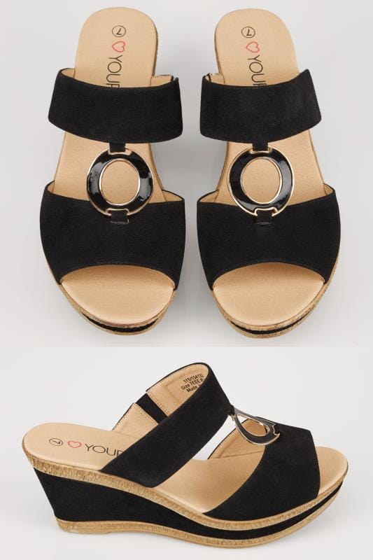 Wide Fit Wedges Black Wedge Heel Sandals With Gold Tone Ring In TRUE EEE Fit