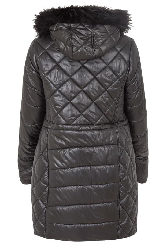 Girls black puffa jacket-3254