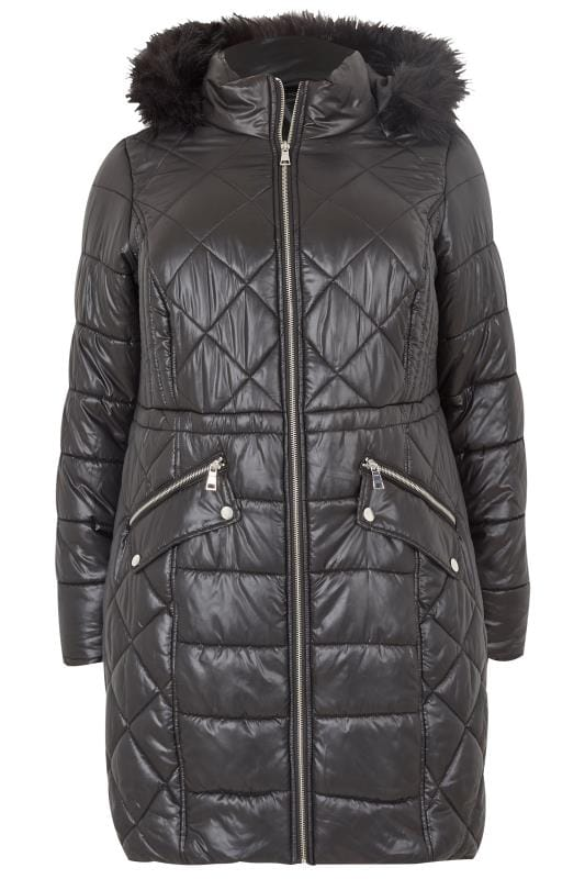 Black Longline Wet Look Puffa Coat