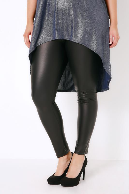 Black Wetlook Leggings With Elasticated Waist