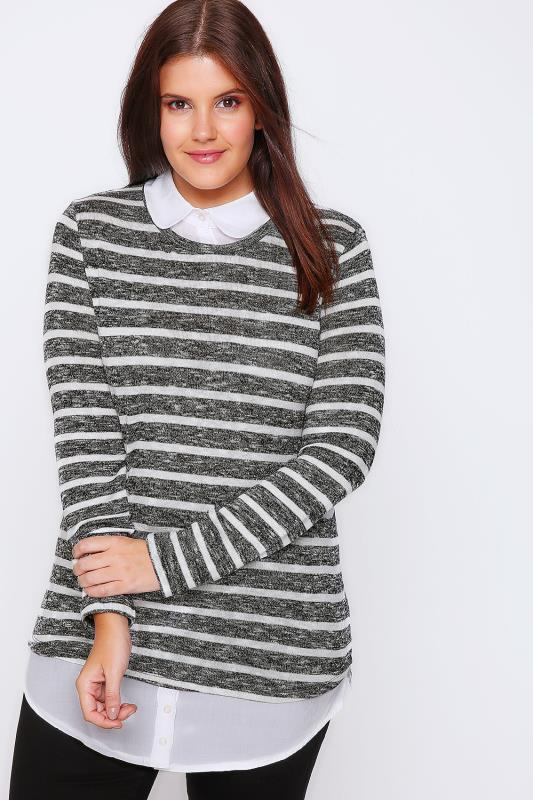 Black & White 2 in 1 Knitted Jumper With White Shirt