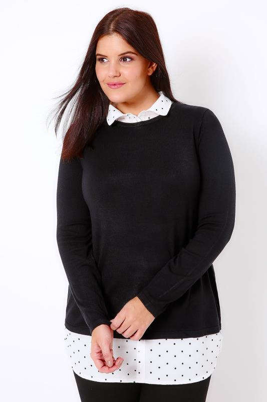 Black 2 In 1 Jumper Layered With Polka Dot Print Shirt Detail