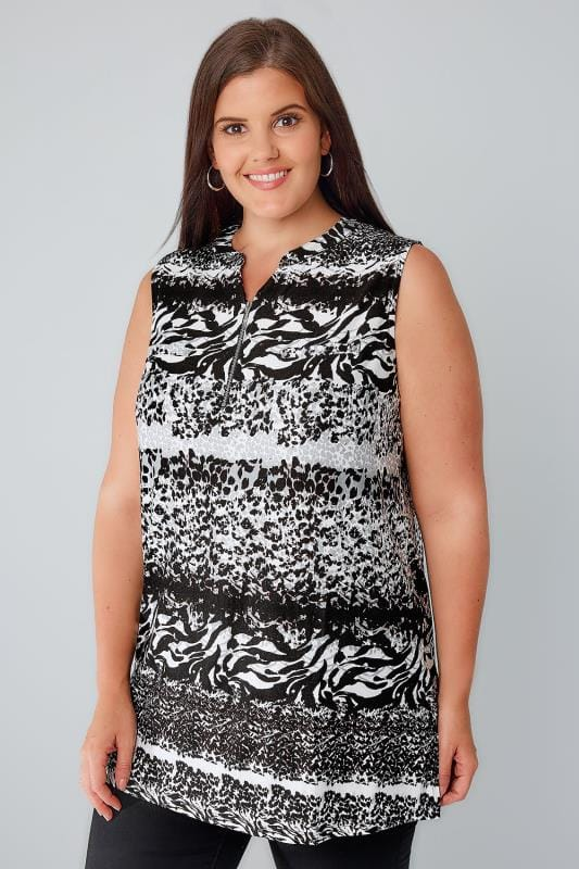 Black & White Animal Print Sleeveless Top With Zip Front