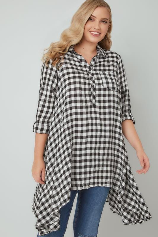 Blouses & Shirts Black & White Asymmetric Checked Shirt 130172