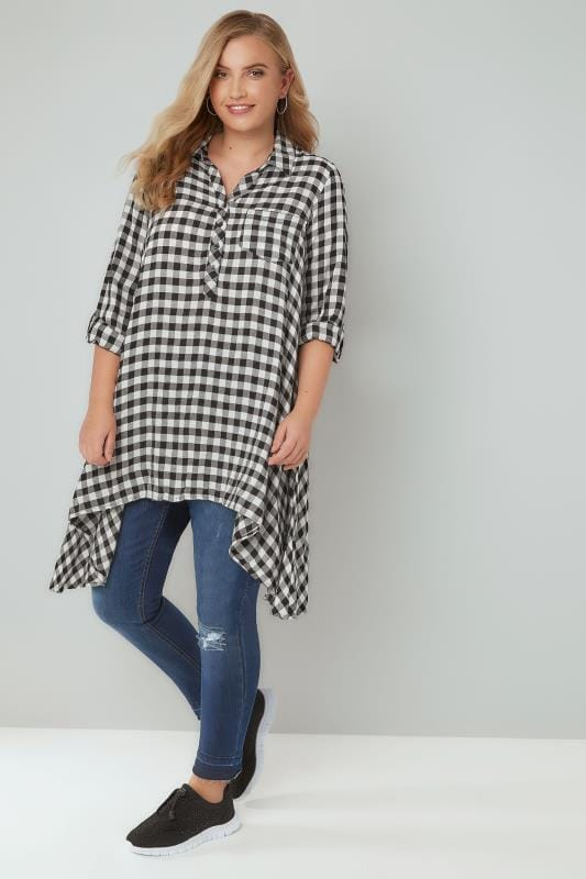 Black & White Asymmetric Checked Shirt