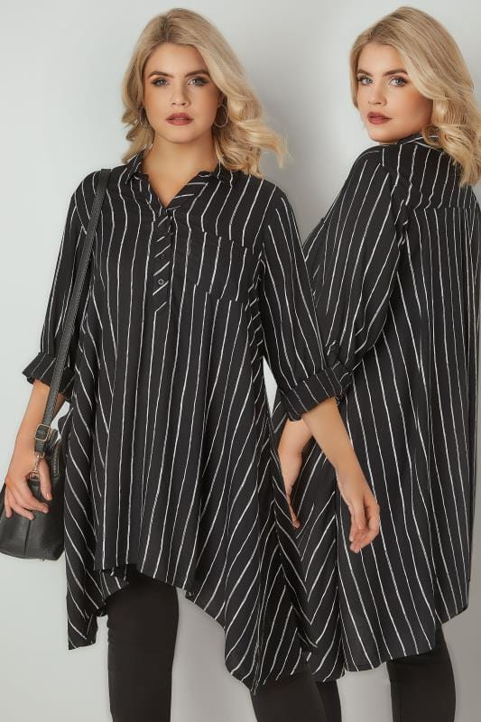 Black & White Asymmetric Stripe Shirt
