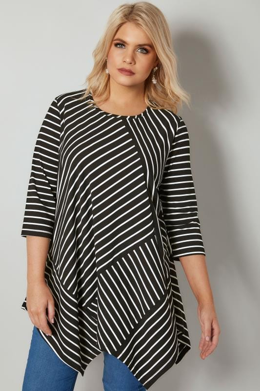 Plus Size Jersey Tops Black & White Asymmetrical Striped Hanky Hem Top
