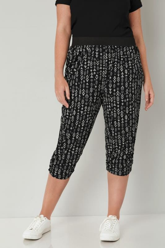 Plus Size Cropped Trousers Black & White Aztec Cropped Harem Trousers