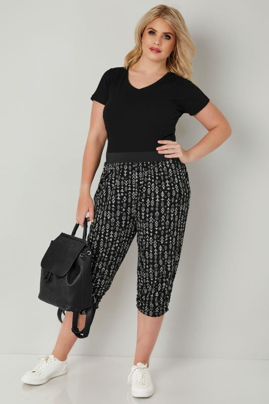 Black & White Aztec Cropped Harem Trousers
