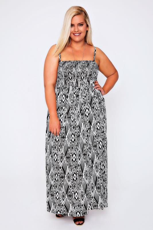 Black & White Aztec Maxi Dress