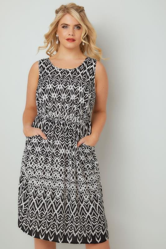 Skater Dresses Black & White Aztec Pocket Dress With Elasticated Waistband 136046