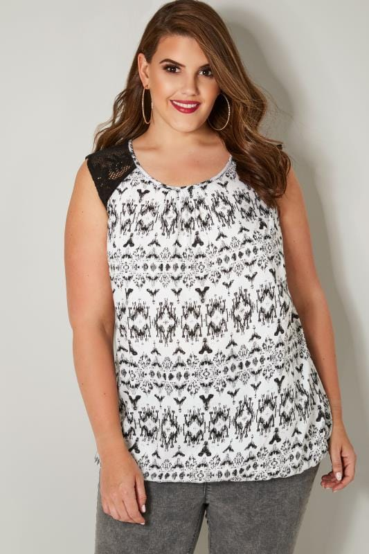 4a7427b6c0ad6e Plus Size Day Tops Black   White Aztec Print Sleeveless Bubble Hem Top With  Lace Shoulders