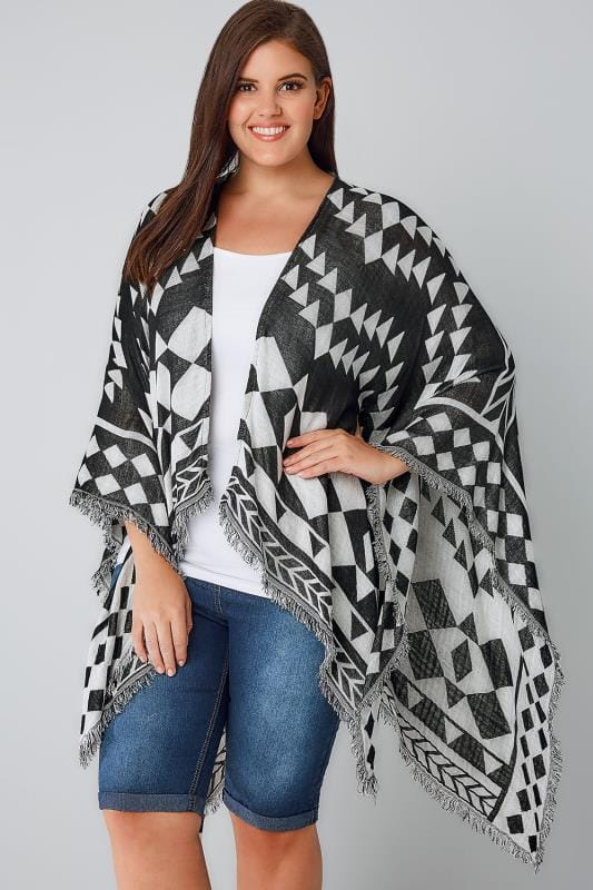 Wraps Black & White Aztec Print Wrap 170129