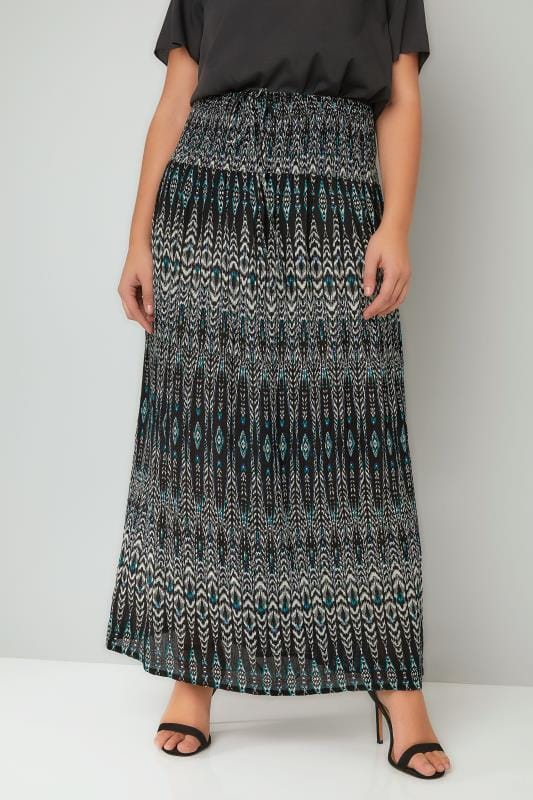 Plus Size Maxi Skirts Black, White & Blue Aztec Print Maxi Skirt With Ruched Waistline