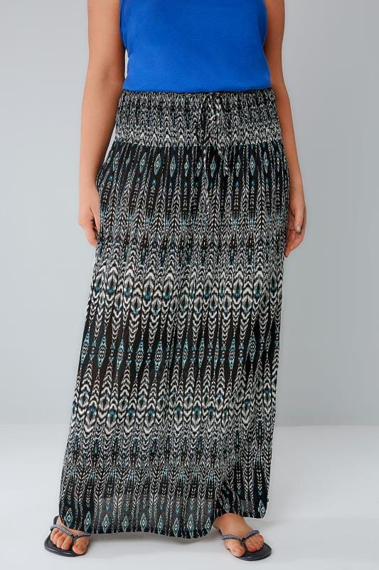 Maxi Skirts Black, White & Blue Aztec Print Maxi Skirt With Ruched Waistline 160016