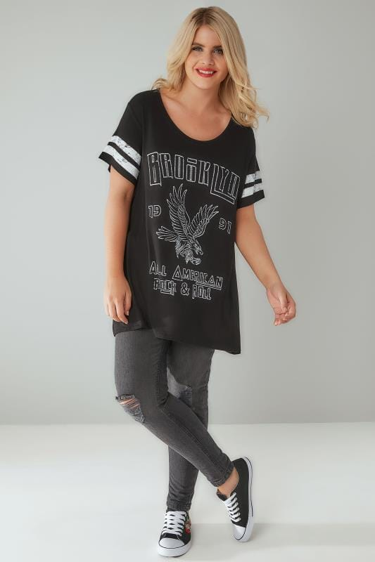 "Black & White ""Brooklyn"" Print Varsity T-Shirt"