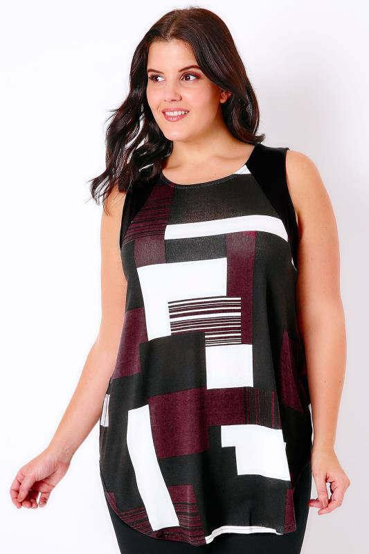 Black, White & Burgundy Colour Block Sleeveless Top With Curved Hem