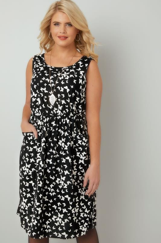 Evasees Black & White Butterfly Pocket Dress With Elasticated Waistband 136044