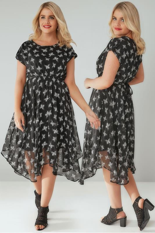 Black & White Butterfly Print Floaty Midi Dress With Hanky Hem