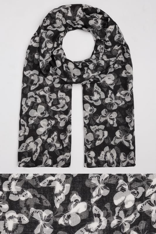 Black & White Butterfly Print Scarf