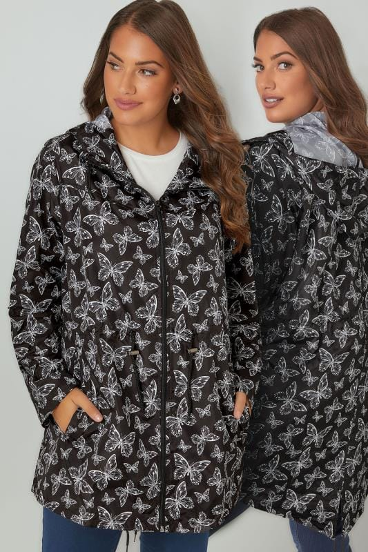 Black & White Butterfly Print Pocket Parka With Hood