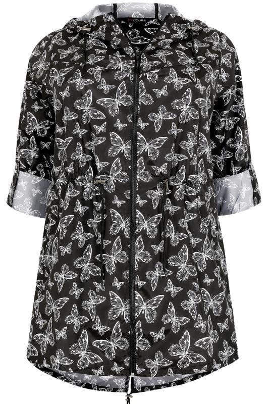 Black & White Butterfly Print Shower Resistant Pocket Parka With Hood
