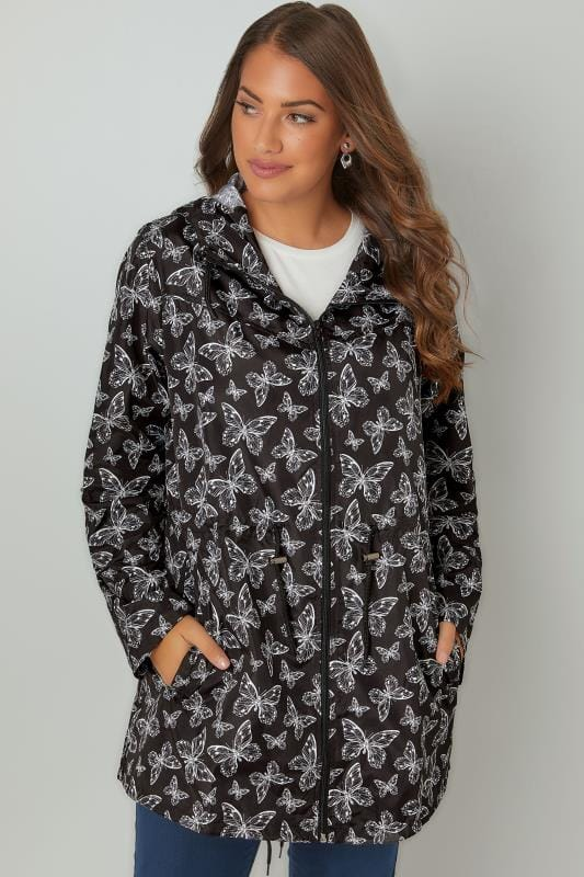 Plus Size Parka Coats Black & White Butterfly Print Pocket Parka With Hood