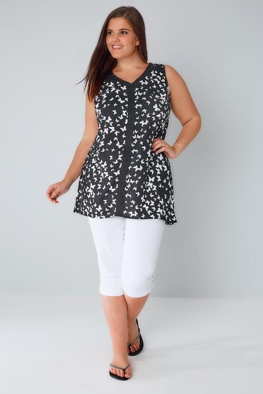 Black & White Butterfly Print Sleeveless Top With Contrast Trim