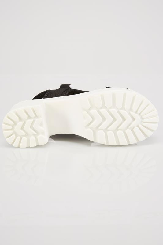 Black & White Canvas Platform Sandal In E Fit