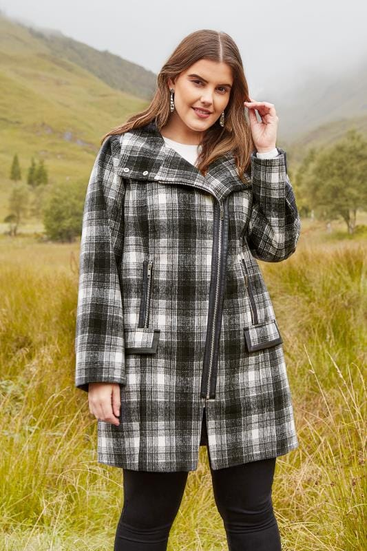 Plus Size Coats Black & White Check Asymmetric Coat